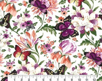 Garden Blooms Butterfly on White Cotton Fabric Sold by the Yard