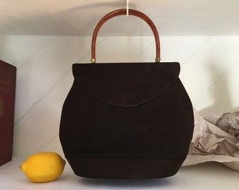 50's Suede Purse,Top Handle Purse ,Suede Handbag