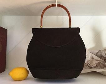 50's Suede Purse,Top Handle Purse ,Suede Handbag
