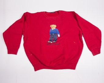 Vintage Ralph Lauren Polo Bear Golf 90s Jumper Sweater