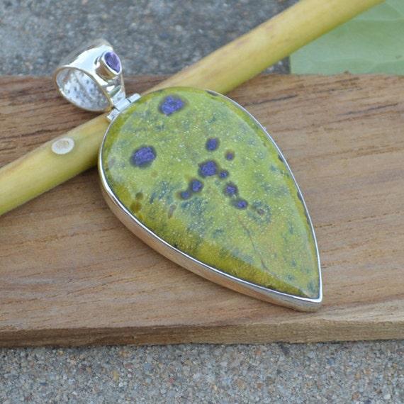 Natural Tasmania Serpentine, Amethyst Pandant,  Tasmania Serpentine Pandant,  Unique Gift Pandant Jewelry,  Sterling Silver Necklace
