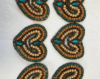 Glue On Sew On Wooden Wood Beads Appliqué. Natural Wood trims, Sold by Piece.