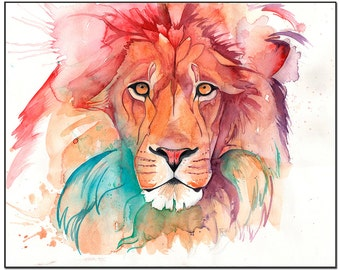 Rainbow Lion Print in Various sizes