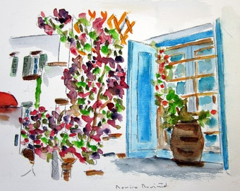 GREEK ISLANDS MYKONOS only original watercolor / blue and white,