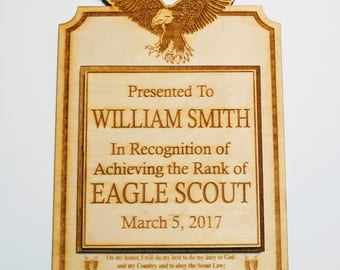 Eagle Scout Award Rustic Wood 3D Plaque Personalized