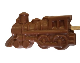 Large Chocolate Steam Locomotive Lolliepop ~ Luxury Belgian chocolate ~ wedding favours ~  train lover