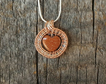 """Goldstone Pendant, Sterling Silver and Copper Wire Wrap Necklace, Goldstone Jewelry, Heart Shaped Pendant, 22"""" Sterling Chain, Gifts for Her"""