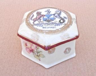 Vintage China Trinket Box - Belfast Coat of Arms Design - Hexagonal Box - Ceramic Trinket Pot, Irish Porcelain, Northern Ireland Souvenir