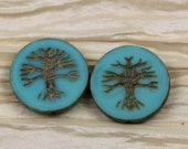 2pcs 22mm Turquoise Picasso Tree of Life Table Cut Chunky Coin Czech Glass Beads