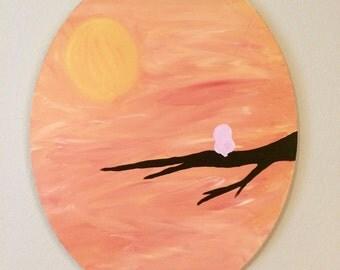 "Early Bird, Circular 20""x16"" Canvas Painting"