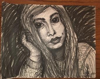 "Self portrait 11x14"" original art"