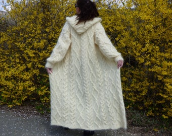 New Hand Knitted Mohair Cardigan ,Ivory,Handmade Coat Sweater, size S, M,L