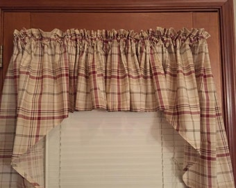 "Plaid Swag Curtain ~ 60"" Wide ~ 36"" Long"