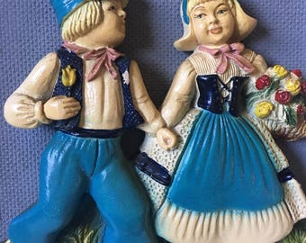 Dutch Boy and Girl Chalkware Wall Hanging// Dutch Decor// Chalkware Decor