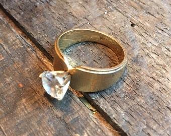 Vintage Park Lane Ring, Vintage Ring, Vintage Designer Ring, Vintage Gold Tone Band, Crystal Ring, Costume Jewelry, Vintage Ring, Rings
