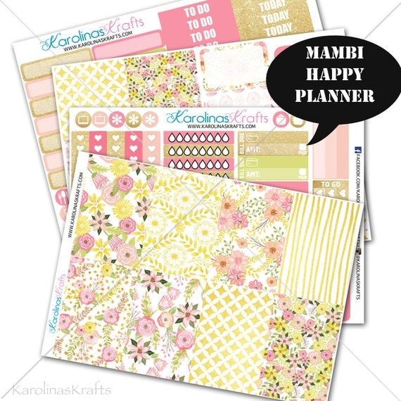 Blush Pink Gold Floral Stickers Planner Kit 200+ Happy Planner Sticker, Mambi Planner Sticker kit, Floral Weekly Kit #SQ00662-MHP