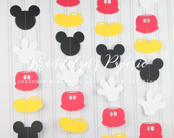 Mickey Mouse Garlands set of 4 or 8 VERTICAL, Mickey Mouse Birthday garland, Mickey mouse party decorations