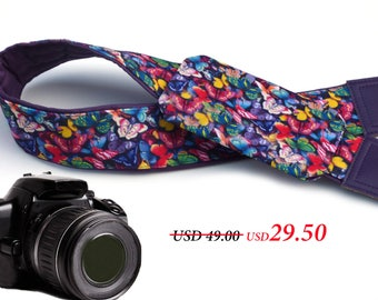 Purple Camera strap with lens pocket.  Colorful Butterflies camera straps.  DSLR and SLR strap. Camera accessories by InTePro