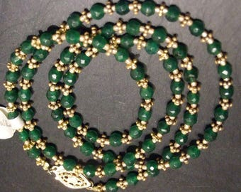 """Delicate necklace of small faceted emeralds with gold daisy spacers, 23"""", emeralds are 4mm"""