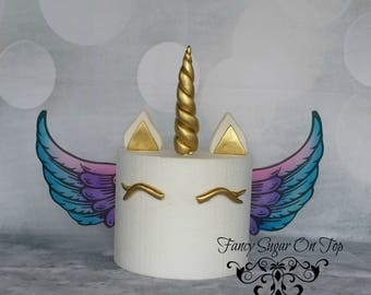 Fondant  Unicorn Horn Cake Topper Set with Edible Wings, Gold/Silver/Rose Gold