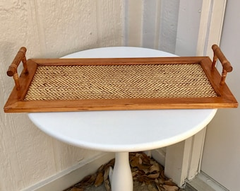 Vintage Wooden Asian Style Tray with Faux Bamboo and Woven Grass Details
