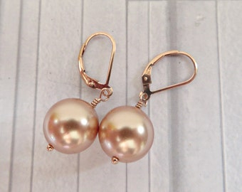 Rose gold pearl earrings, Swarovski rose gold pearl earrings, Pearl dangle earrings, Rose gold filled earrings, Pearl rose gold earrings