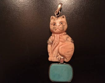 Hand-Carved Bone Pendat of Cat on Turquoise Stone - Free Domestic Shipping