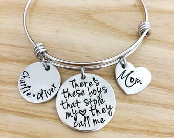 Theres these boys - Mom and Son gift - Aunt gift - Mother's Day Gift for Aunts - Personalized Bracelet - Hand stamped Bracelet Jewelry