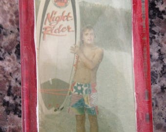 Old Surfing Photograph of Young Boy with Surfboard in Glass Paperweight