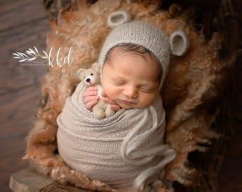Newborn Mohair Bear Bonnet * Photo Prop * Baby Bear Hat * Slate Blue * Ivory * Stone Beige * Butterscotch * Oatmeal
