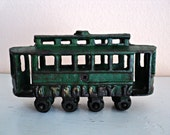 Cast Iron Toy Trolley Car Original Green Paint Vintage Metal Collectible Children's Toy Eight Wheels Great Gift for Collectors