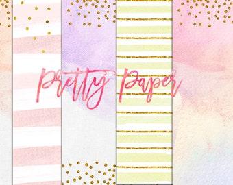 digital download watercolor paper, confetti gold pastel paper, party rainbow watercolor pink digital paper pack, peach, pretty pastel