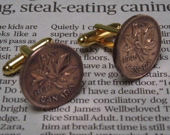 1946 Canadian 1 cent Coin Cuff Links