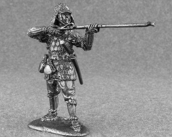 Antique Toy Soldiers  Ashigaru with Arquebuse 1/32 Scale Warrior Toy Soldier Sculpture 54mm Collection Tin Metal Miniature