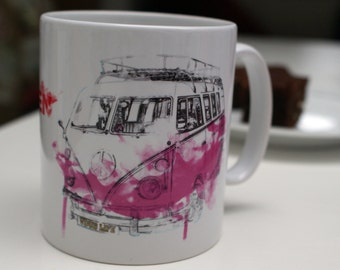 """VW Mug - """"Well Behaved Women Rarely Make History"""", VW Camper Van, Coffee Cup, Gift for Women, Birthday Present"""