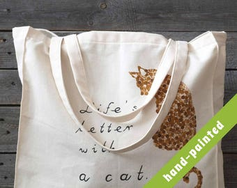 cat tote bag, Cotton tote bag, Eco bag, cat bag, cat tote, hand-painted tote bag, tote bag, cat lover gift,  cat, tote, cat gift, cat gifts