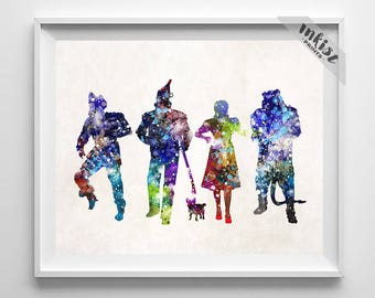 Wizard of Oz Print, Dorothy Print, Oz Poster, Wizard of Oz Art, Oz Watercolor Art, Oz Decor, Wizard, Baby Shower, Type 1, July 4th