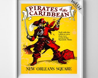 Disney World Poster, Pirates of the Caribbean, Disneyland Poster, Vintage Disneyland, Disney Art, New Orleans Square, Giclee, Gift For Him