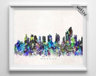 Manaus Skyline Print, Brazil Print, Manaus Poster, Brasil Cityscape, Watercolor Painting, Poster, Wall Art, Home Decor, Christmas Gift