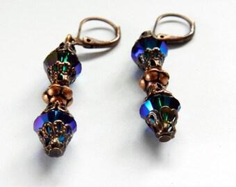 Aurora Borealis Blue Green Crystal Swarovski Dangling Earrings, Swarovski Earrings, Dangling Earrings, Pierced Earrings, Drop Earrings