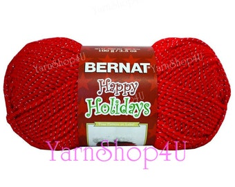 SALE!! SILVERED RED, Red/Silver, Bernat Happy Holidays Christmas Yarn, Red yarn with Silver Metallic threads, 3.5 oz/100g/240 yd ball