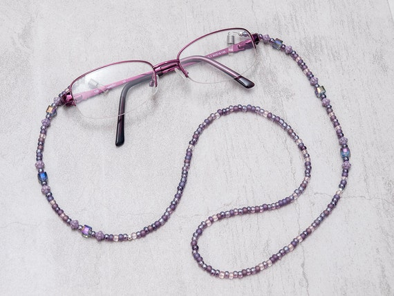 Eyeglass Holder ~ Purple Eyeglasses Chain ~ Purple Beaded Eyeglasses Chain ~ Eyewear Chain ~ Eyeglass Lanyard ~ Reading Glasses Chain ~ Gift