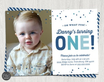 First Birthday Invitation | Oh What Fun Turning ONE | Boy Photo Invitation | ANY COLOR | Printable (5x7)