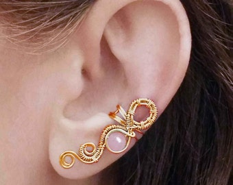 Gold Ear Cuff Infinity bow 24K Gold Plated Turquoise Rose Quartz Ear Wrap