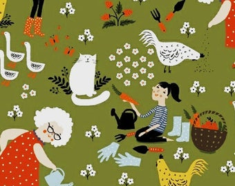 Retro Lady Gardeners Quilt Fabric, Windham Gardening 41334 1, Dinara Mirtalipova, Garden, Cats, Chickens, Geese, Flowers, Farm, Cotton