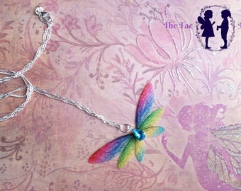 Magical Rainbow Fairy Wing Rhinestone Pendant