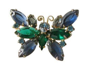 Butterfly Pin Blue Rhinestone
