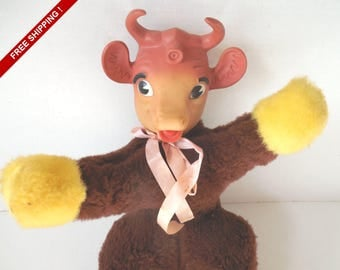 """Vintage 1950 ELSIE THE COW 15"""" Brown Plush Toy Doll with Rubber Head//Borden Dairy//Vintage Advertising"""