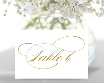Printable Wedding table numbers | 4 x6 gold