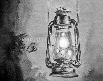 GICLEE PRINT Butterfly Old Lantern Art Watercolor Painting Black Grey